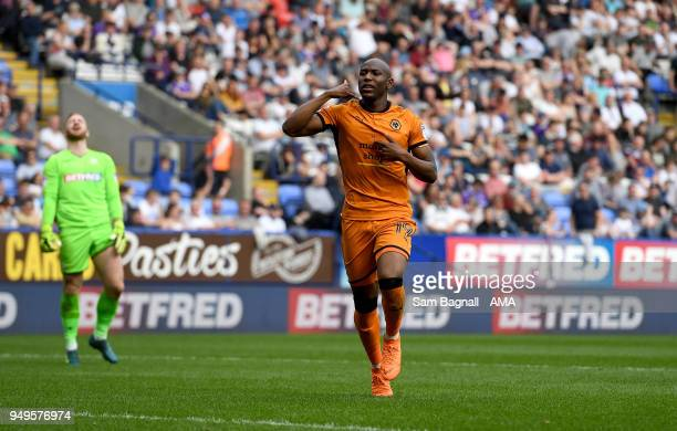 Benik Afobe of Wolverhampton Wanderers celebrates after scoring a goal to make it 02 during the Sky Bet Championship match between Bolton Wanderers...