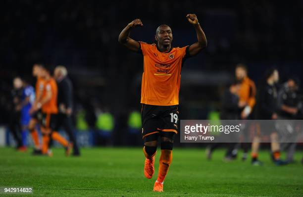 Benik Afobe of Wolverhampton Wanderers celebrates victory during the Sky Bet Championship match between Cardiff City and Wolverhampton Wanderers at...
