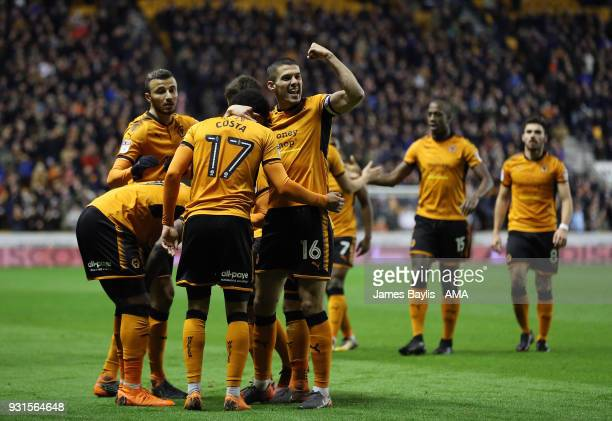 Benik Afobe of Wolverhampton Wanderers celebrates with his team mates after scoring a goal to make it 20 during the Sky Bet Championship match...