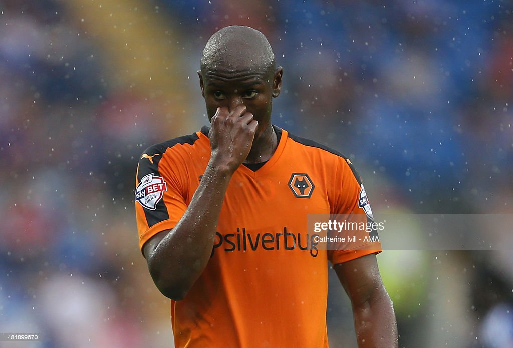 Benik Afobe of Wolverhampton Wanderers reacts during the Sky Bet Championship match between Cardiff City and Wolverhampton Wanderers at Cardiff City Stadium on August 22, 2015 in Cardiff, Wales.