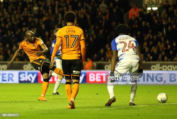 Benik Afobe of Wolverhampton Wanderers scores a goal to make it 20 during the Sky Bet Championship match between Wolverhampton Wanderers and Reading...