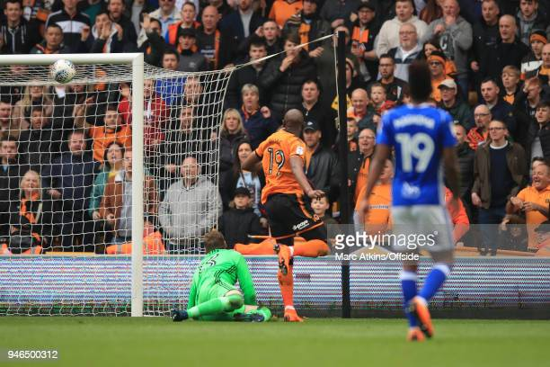 Benik Afobe of Wolverhampton Wanderers scores their 2nd goal during the Sky Bet Championship match between Wolverhampton Wanderers and Birmingham...