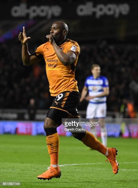 Benik Afobe of Wolverhampton Wanders celebrates scoring the second goal during the Sky Bet Championship match between Wolverhampton Wanderers and...