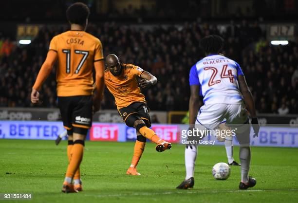 Benik Afobe of Wolverhampton Wanders scores the second goal during the Sky Bet Championship match between Wolverhampton Wanderers and Reading at...