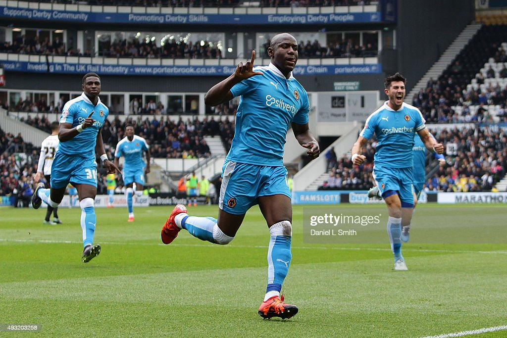 Benin Afobe of Wolverhampton Wanderers FC celebrates after scoring Wolverhampton Wanderers FC equalising goal during the Sky Bet Championship match between Derby County and Wolverhampton Wanderers at Pride Park Stadium on October 18, 2015 in Derby, England.