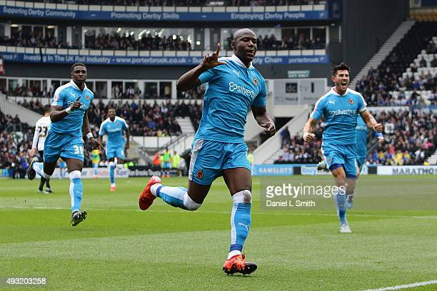 Benin Afobe of Wolverhampton Wanderers FC celebrates after scoring Wolverhampton Wanderers FC equalising goal during the Sky Bet Championship match...