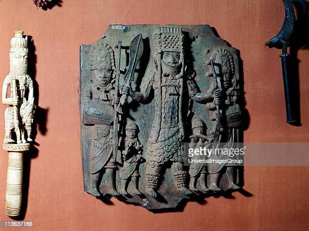 Benin bronze plaque of warrior chief of the Bini tribe Benin Nigeria British Museum