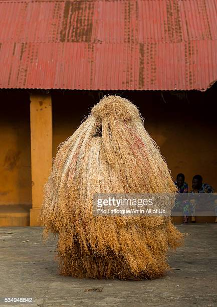 Benin West Africa PortoNovo zangbeto guardian of the night spirit dance in the royal palace
