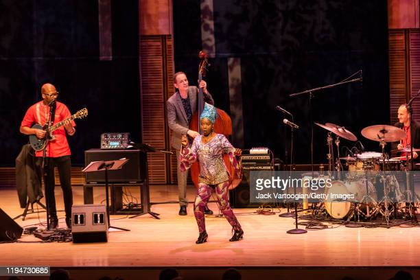 Beninese Jazz musician Lionel Loueke plays guitar as he performs onstage with his trio at Carnegie Hall's Zankel Hall New York New York December 13...