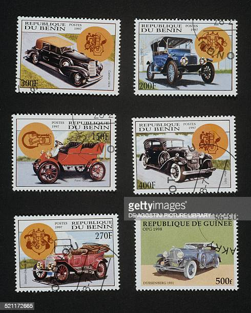 Beninese postage stamps from the Vintage car series depicting from left to right and from top to bottom Cadillac Stanley Ford Cadillac StoddarDayton...