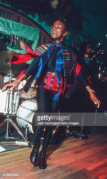 Beninese/American singer Angelique Kidjo makes her US debut onstage at SOB's nighclub New York New York October 2 1992