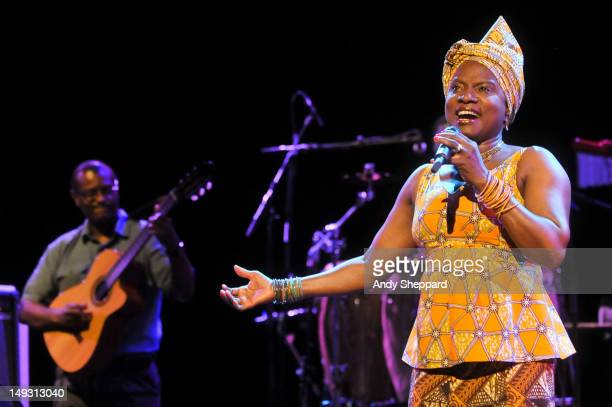 Beninoise singer Angelique Kidjo performs on stage at the Queen Elizabeth Hall on July 26 2012 in London United Kingdom