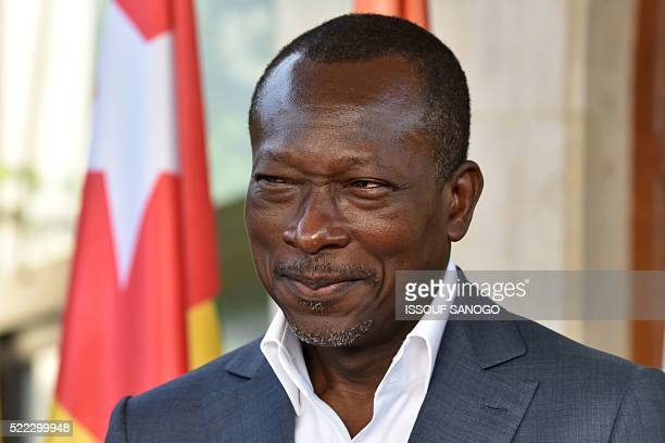 Benin's newly elected President Patrice Talon holds a press briefing after a reconciliation meeting with the former Beninese president hosted by the...