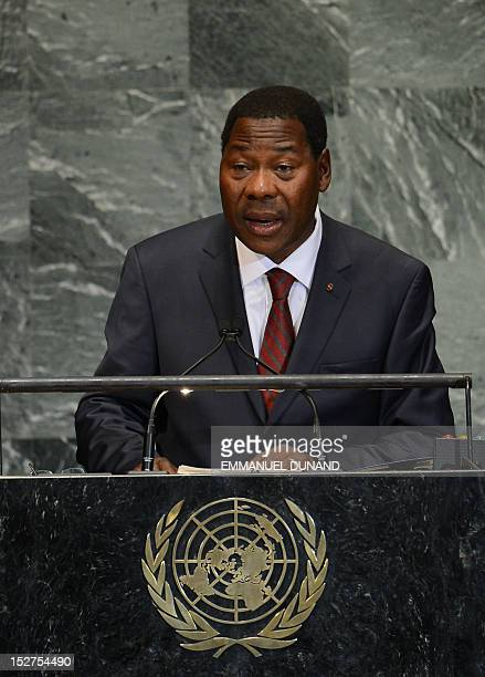 Benin's President Boni Yayi addresses the 67th UN General Assembly at the United Nations headquarters in New York September 25 2012 AFP...