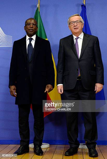 Benin's President Patrice Talon and European Union Commission President JeanClaude Juncker pose prior to their meeting at the European Union...