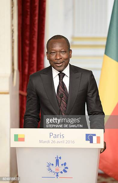 Benin's President Patrice Talon delivers a joint statement with the French president at the Elysee Presidential Palace in Paris on April 26 2016 /...