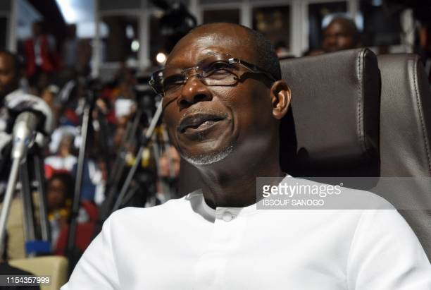 Benin's President Patrice Talon looks on during the opening ceremony of the African Union summit at the Palais des Congres in Niamey on July 7 2019...