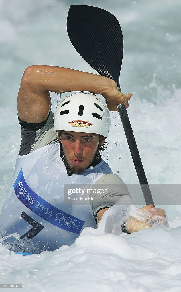 Beniot Peschier of France fights the water current during the men's K-1 class slalom semifinal on August 20, 2004 during the Athens 2004 Summer Olympic Games at the Schinias Olympic Slalom Centre in Athens, Greece.