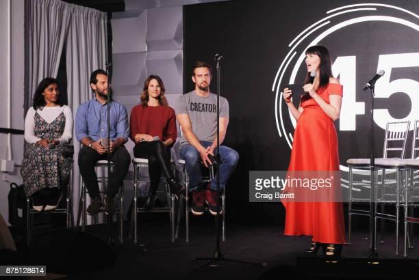 Benish Shah Ben Leventhal Karen Cahn Miguel McKelvey and Adi Neumann speak onstage during WeWork Celebrates the New York Creator Awards at Skylight...