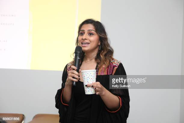 Benish Shah Head of Product Marketing at Refinery29 speaks during the Refinery29 HER BRAIN Insights presentation at Hint Water Headquarters on March...
