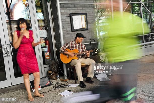 Benita Charles Peter Archer and Jose Rodriguez perform during Make Music Day Uptown Funk/Street Studio Harlem at Mist Harlem on June 21 2016 in New...