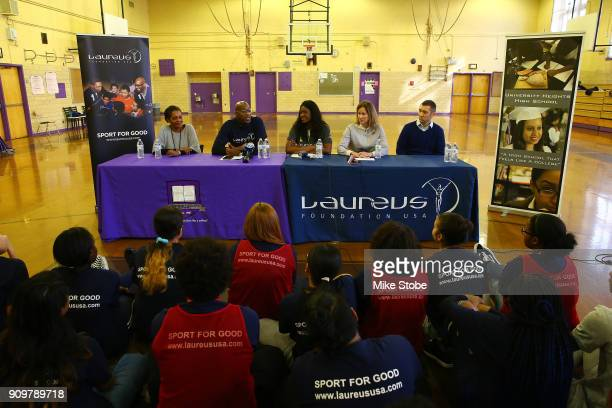Benita Fitzgerald Mosley CEO Laureus Sport for Good USA speaks during the Laureus Sport for Good NYC Media Site Visit at University Heights High...