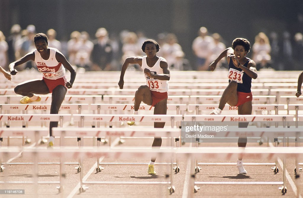Benita Fitzgerald #234, Stephanie Hightower #133, and Kim Turner #233 compete in the final of the Women's 100m Hurdles event at the 1984 USA Track and Field Olympic Trials held on June 23, 1984 at the Los Angeles Coliseum in Los Angeles, California.