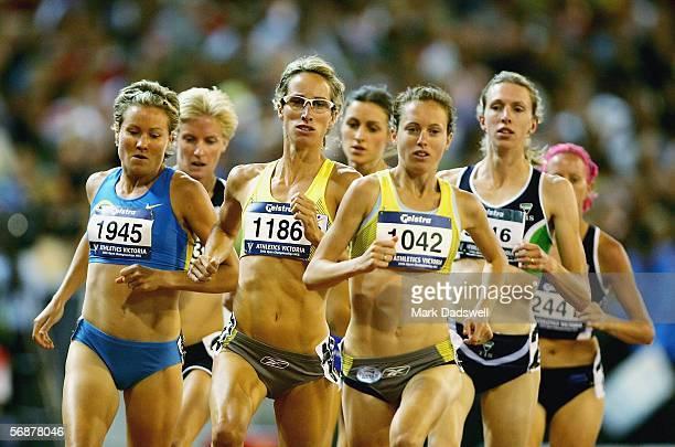 Benita Johnson Sarah Jamieson and Lisa Corrigan lead the Athletics Australia Womens Mile during the Athletics Australia Invitational and Victorian...