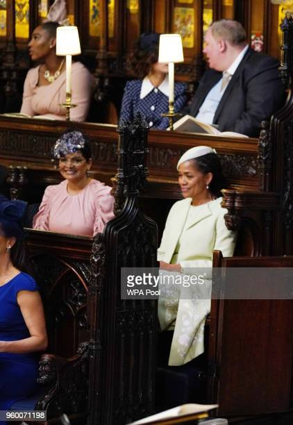 Benita Litt and Doria Ragland mother of the bride during the wedding service for Prince Harry and Meghan Markle at St George's Chapel Windsor Castle...