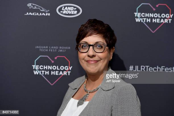 Benita Mehra speaks at the Technology with Heart Jaguar Land Rover's Tech Fest at Central St Martins on September 7 2017 in London England