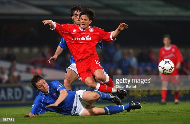 Benito Carbone of Middlesbrough is tackled by Matt Holland and Sixto Peralta of Ipswich Town during the FA Barclaycard Premiership match played at...