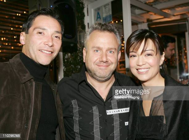 Benito Martinez, Rich Bleiweiss and Ming Na during Calabasas Magazine Celebrates 2 Years at Fred Segal Mauro Cafe in Los Angeles, California.