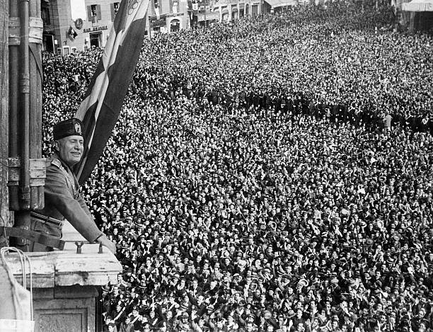 Benito Mussolini Speaking to Crowd