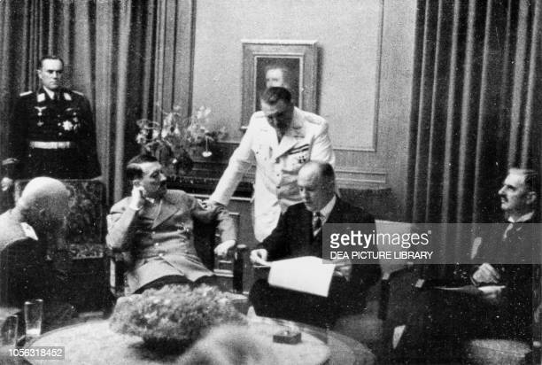 Benito Mussolini, Adolf Hitler, Hermann Goering, the interpreter Paul-Otto Schmidt and Neville Chamberlain at the Munich Conference, September 29-30...