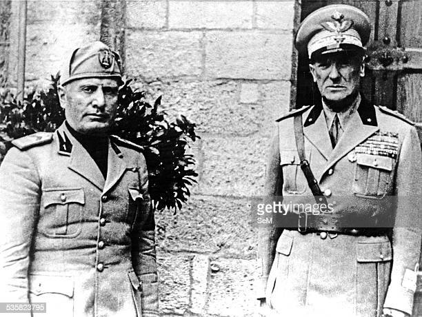 Benito Mussolini and General Rodolfo Graziani commander in chief of the armed forces of R S I Italian Social Republic puppet government fascist ally...