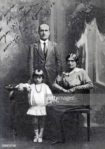 Benito Mussolini and his family wife Rachele and daughter Emma Mussolini