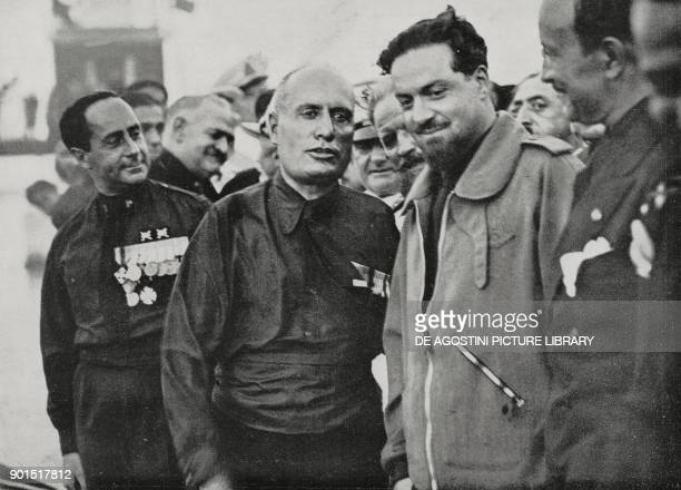 Benito Mussolini and the aeronautical minister Italo Balbo returning in the Atlantic cruise organized on the occasion of the decade of aeronautics...