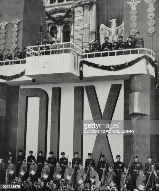 Benito Mussolini announcing racial laws in Piazza Unita d'Italia in Trieste, September 18 Italy, from L'Illustrazione Italiana, Year LXV, No 39,...