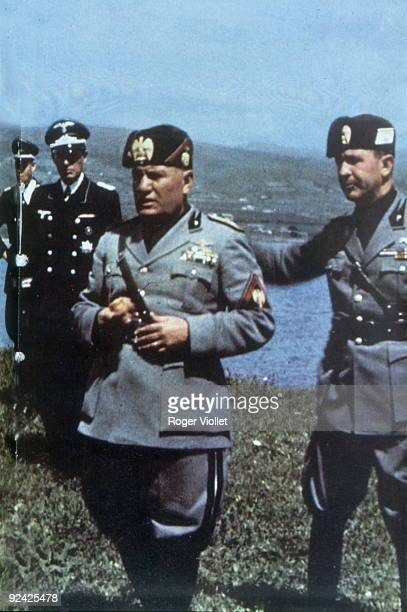 Benito Mussolini attending the manoeuvres of the Italian army 1938