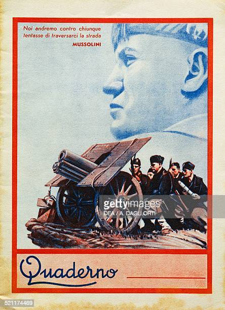 Benito Mussolini cannon and gunners illustrated school exercise book cover 1941 Italy 20th century Italy
