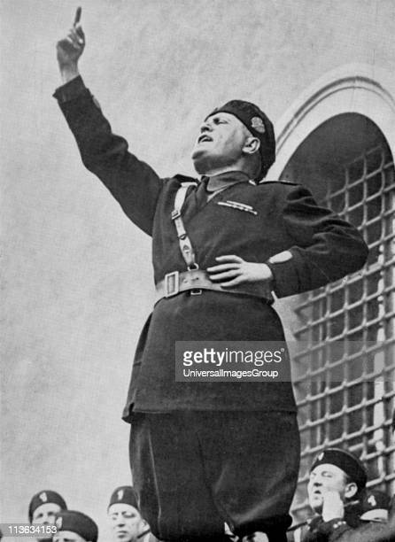 Benito Mussolini Il Duce Italian fascist dictator addressing fascist youths on the occasion of the calling up of the conscripts of the 1911 class...