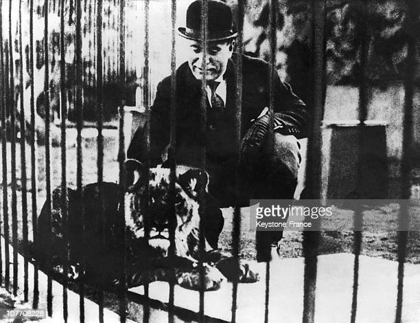 ITALY CIRCA 1930 Benito Mussolini In A Cage With A Young Lion