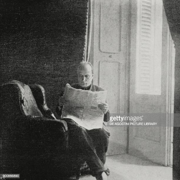 Benito Mussolini in his room at the Hotel Vesuve in Naples Italy October 24 from L'Illustrazione Italiana Year XLIX No 45 November 5 1922