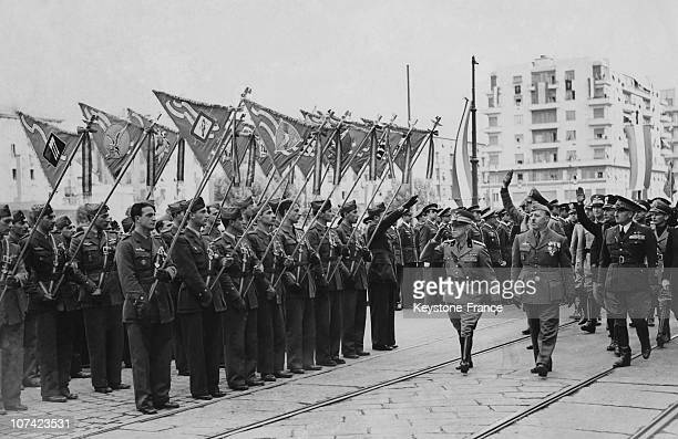 Benito Mussolini Inspecting A Regiment Of The Italian Army At Istituto Luce In Italy