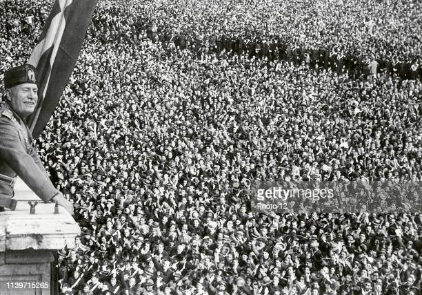 Benito Mussolini Italian politician journalist and leader of the National Fascist Party addresses a rally 1933