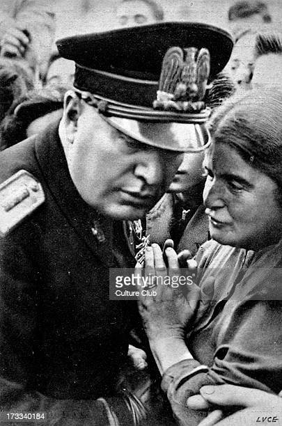 Benito Mussolini listening to woman portrait 40th Prime Minister of Italy and leader of National Fascist Party 29 July 1883 – 28 April 1945