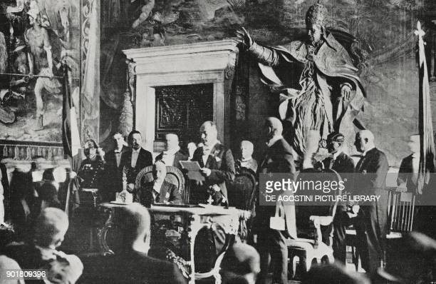 Benito Mussolini making a speech in the Hall of the Horatii and Curiatii on Capitoline Hill conferring Roman citizenship on Benito Mussolini Rome...