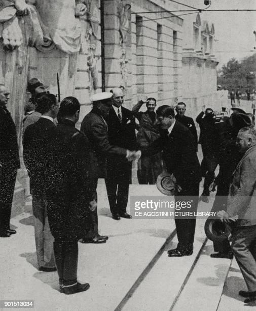 Benito Mussolini meet Adolf Hitler to discuss the constitution of the RomeBerlin axis June 1934 Venice Italy from L'Illustrazione Italiana year LXIV...