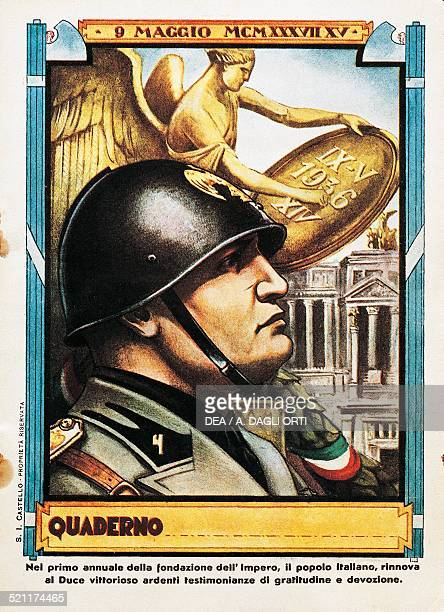 Benito Mussolini on the first anniversary of the conquest of Ethiopia illustrated school exercise book cover 1937 Italy 20th century Italy