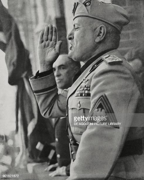 Benito Mussolini speaking from the balcony of the Government Palace Cagliari 14 May 1942 Italy World War II from L'Illustrazione Italiana Year LXIX...